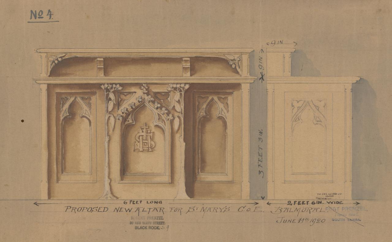 Proposed new altar for St Mary's Church of England, Balmoral