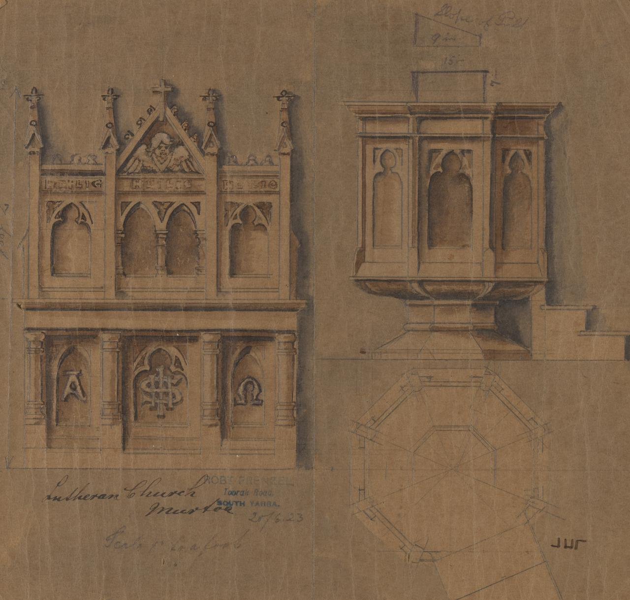 Design for an altar and pulpit for the Luthern Church, Murtoa