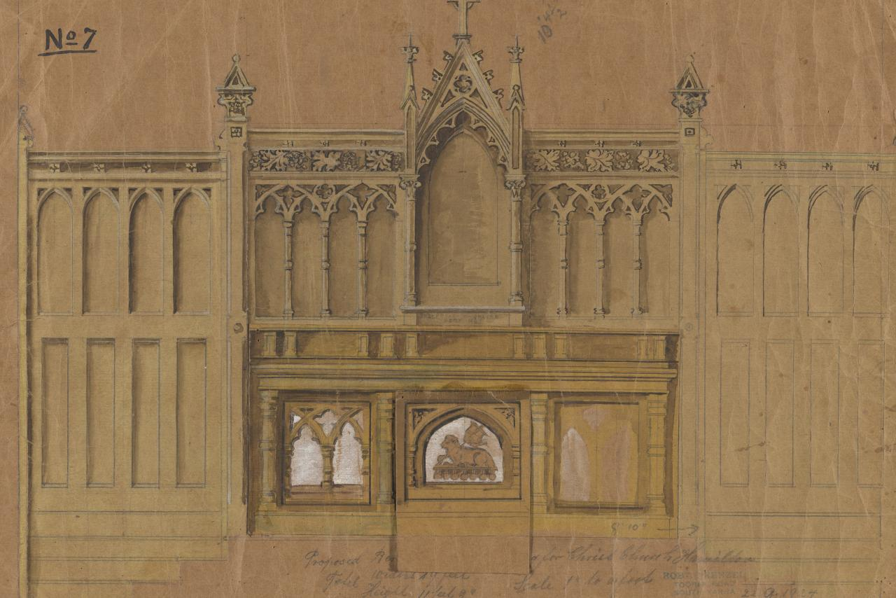 Proposed revedos and side panelling for Christ Church, Hamilton
