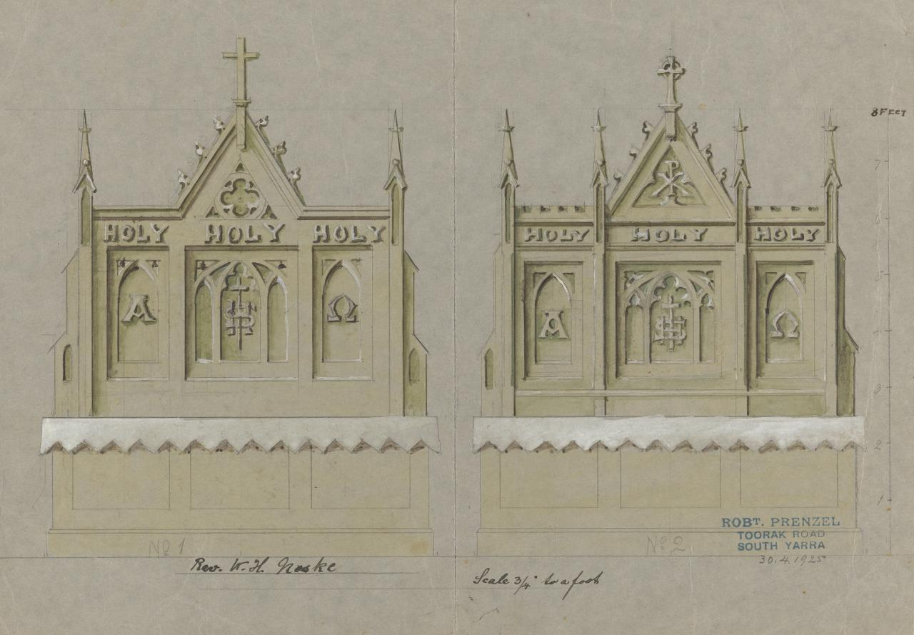 Two designs for an altar for the Rev. W. H. Noske