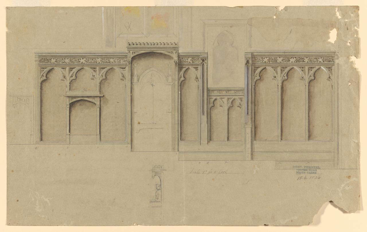 Design for panelling for St John's Church of England, Toorak