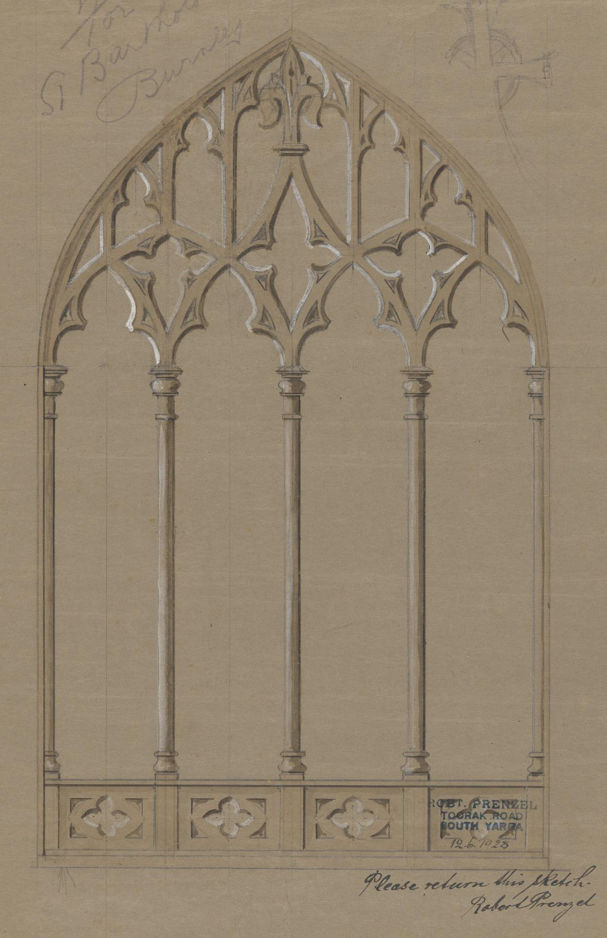 Design for a screen for St Bartholomew's, Burnely
