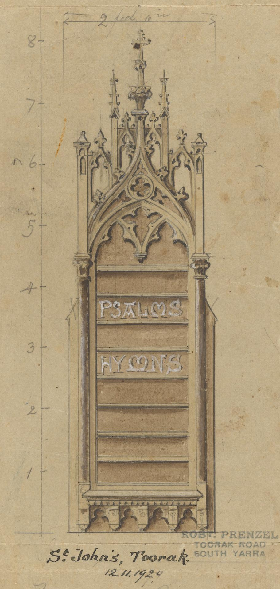 Design for a hymn board for St John's Church of England, Toorak