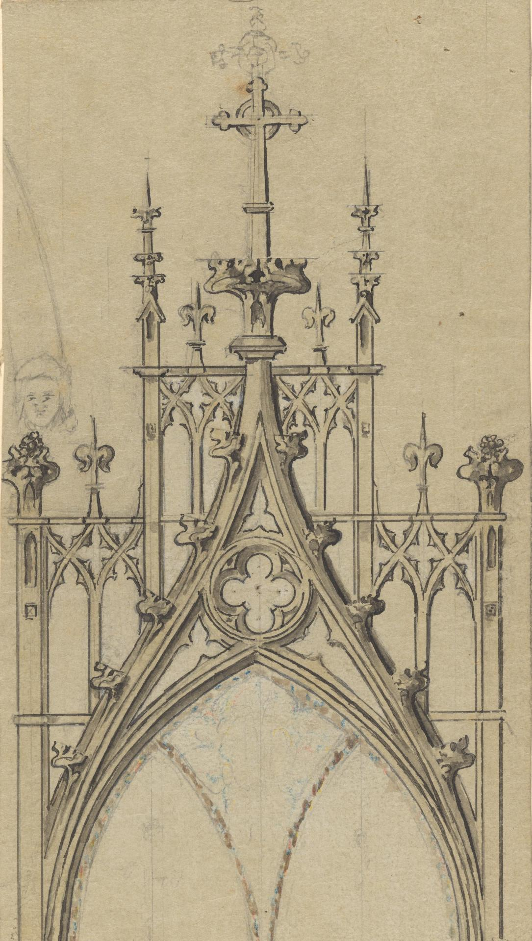 Fragment of a design for the chancel tablets at St John's Church of England, Toorak