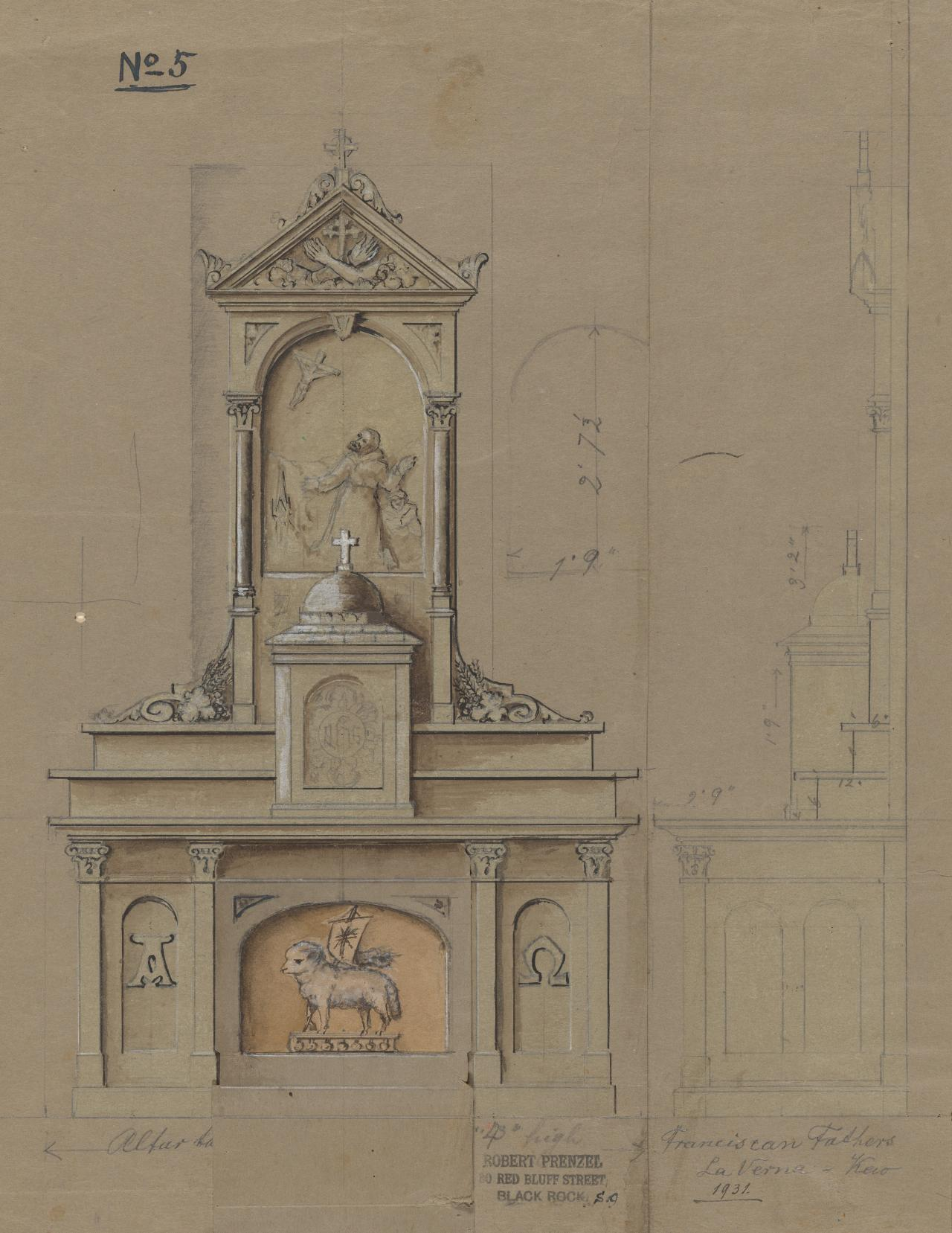 Design for an altar for the Franciscan Father, La Verna, Kew