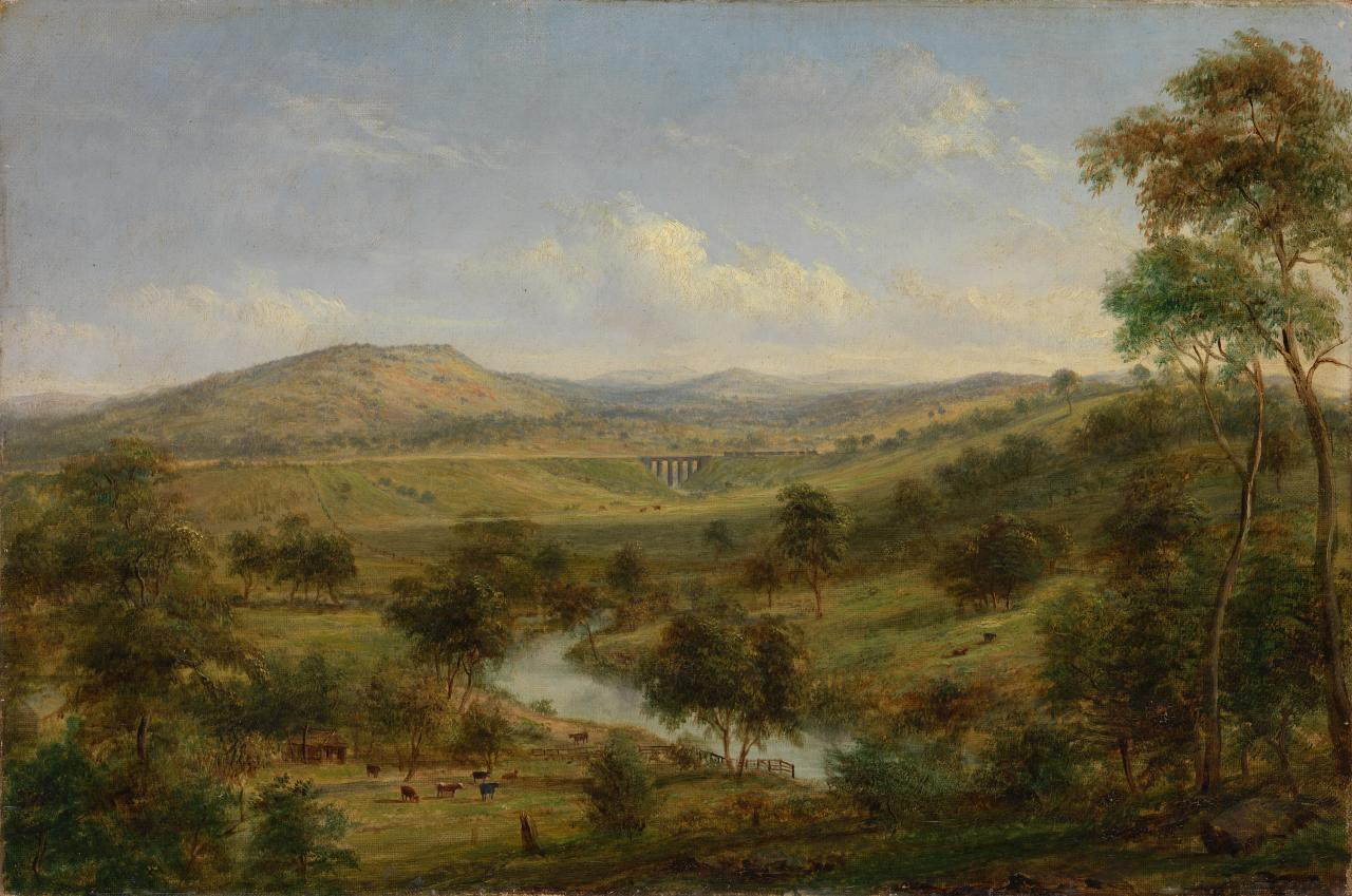 View of Mr Clarke's estate at Sunbury with the railway viaduct and Jackson's Creek