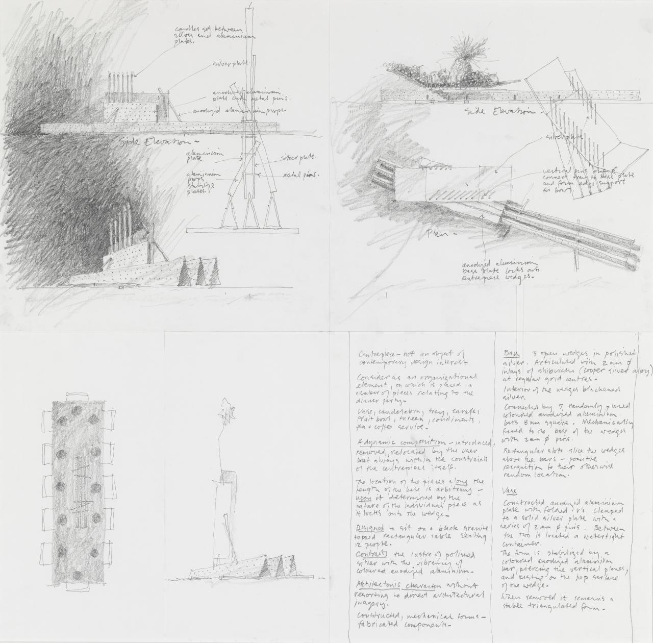 Elevations, perspectives and plans of a centrepiece