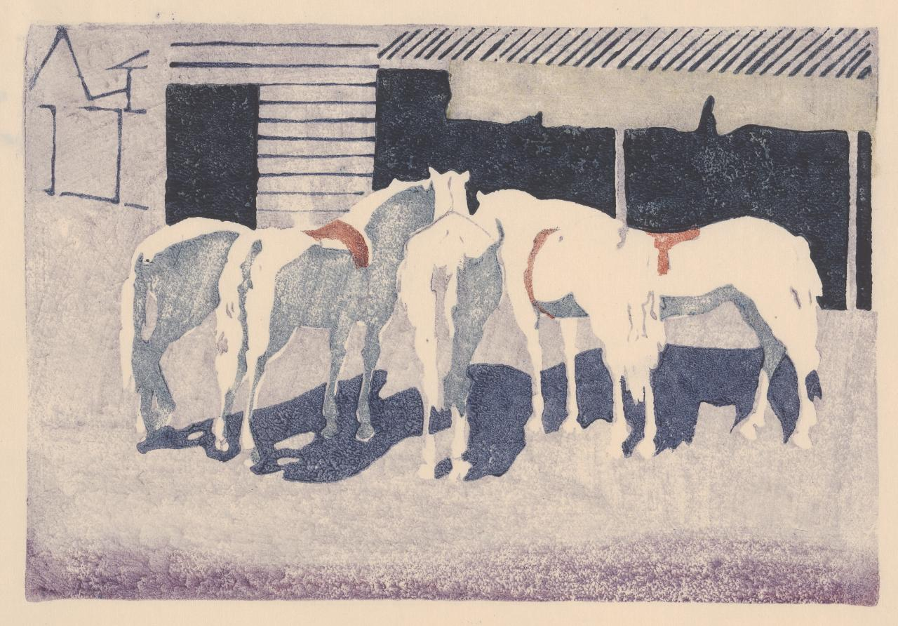 (Untitled) (Five horses by stables)