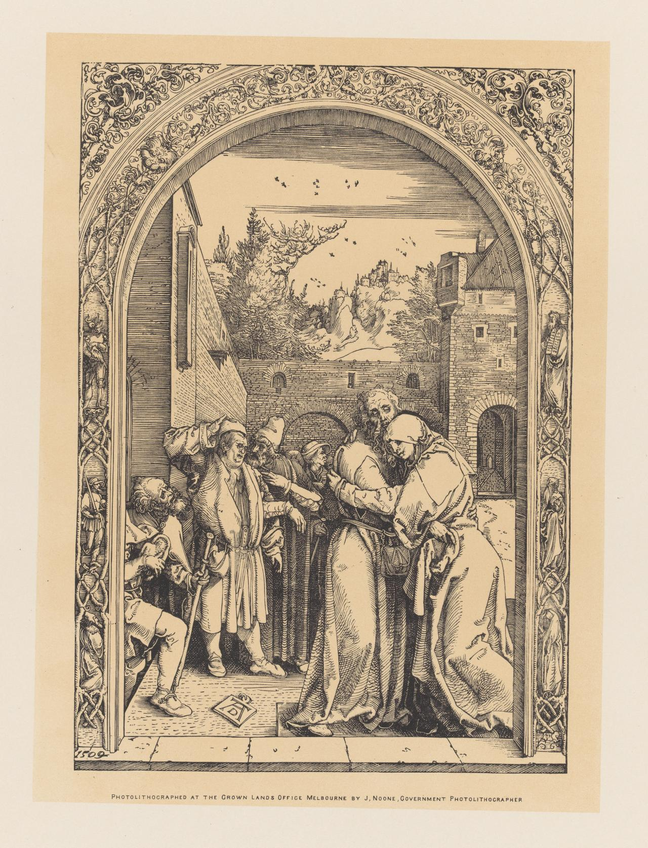 St Joachim embraces St. Anne under the Golden Gate, from the series The Life of the Virgin Mary.