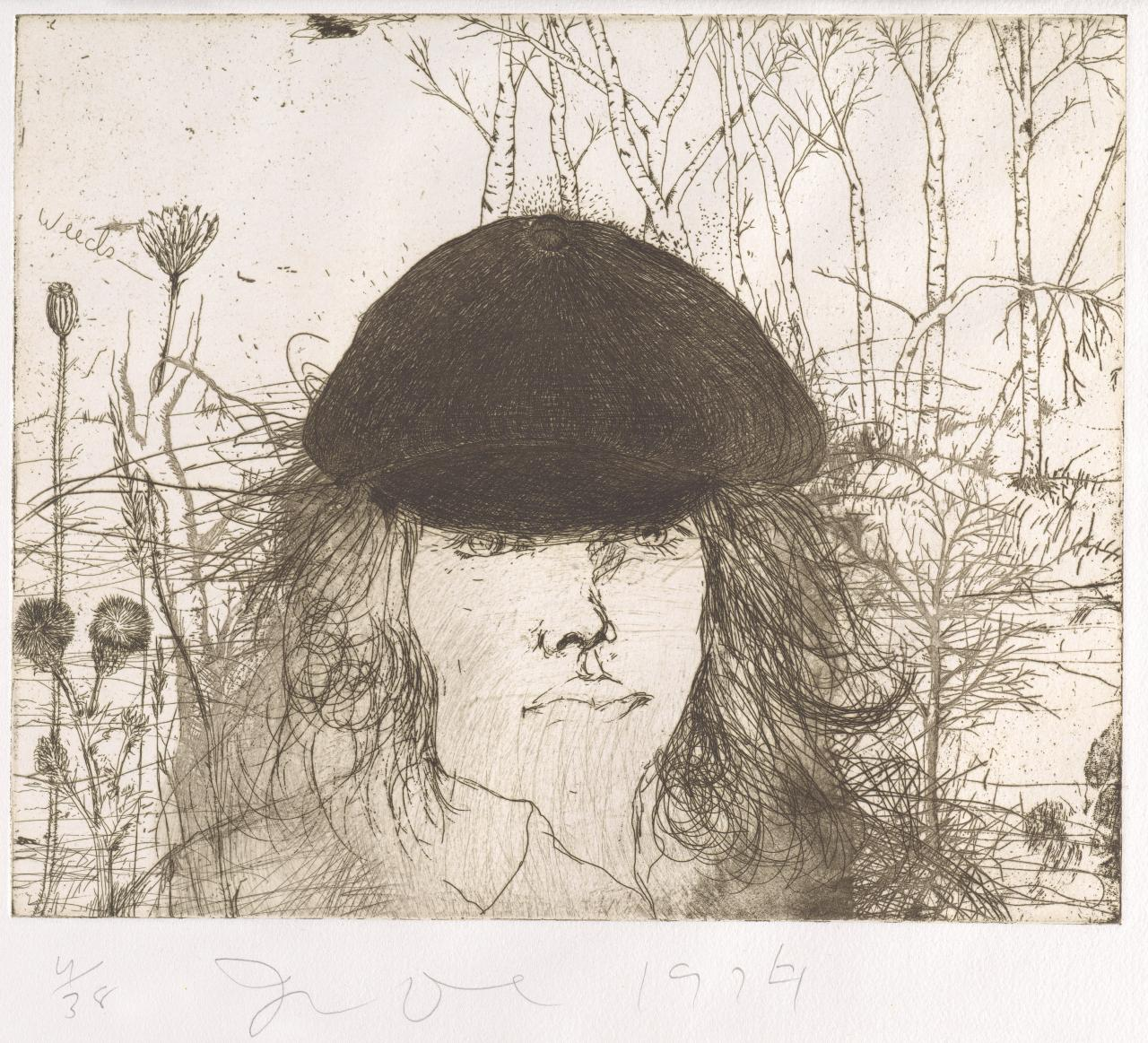 Self portrait in a flat cap (weeds)