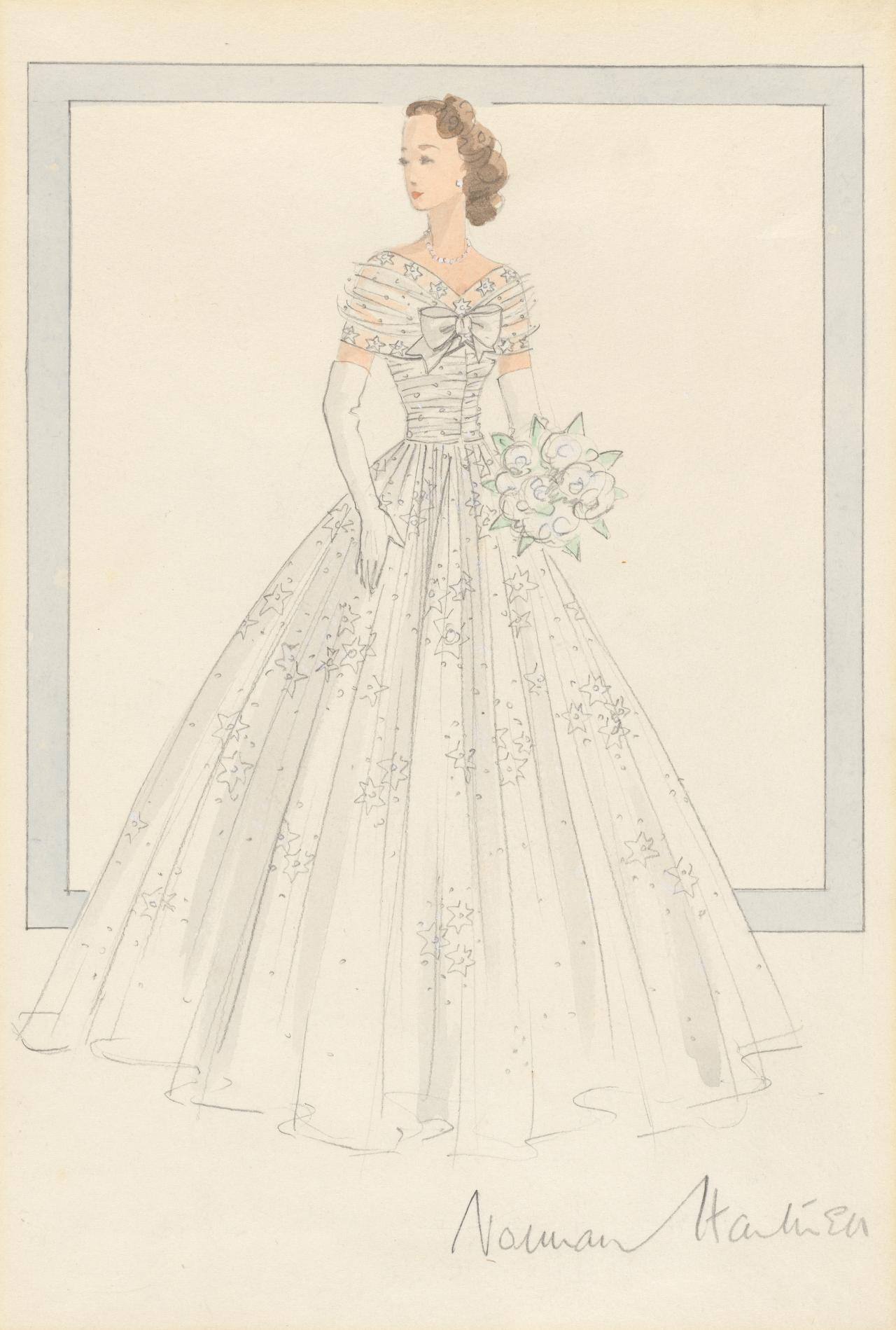 Design for the bridesmaid dress worn by Her Royal Highness the Princess Margaret for the wedding of Her Royal Highness the Princess Elizabeth