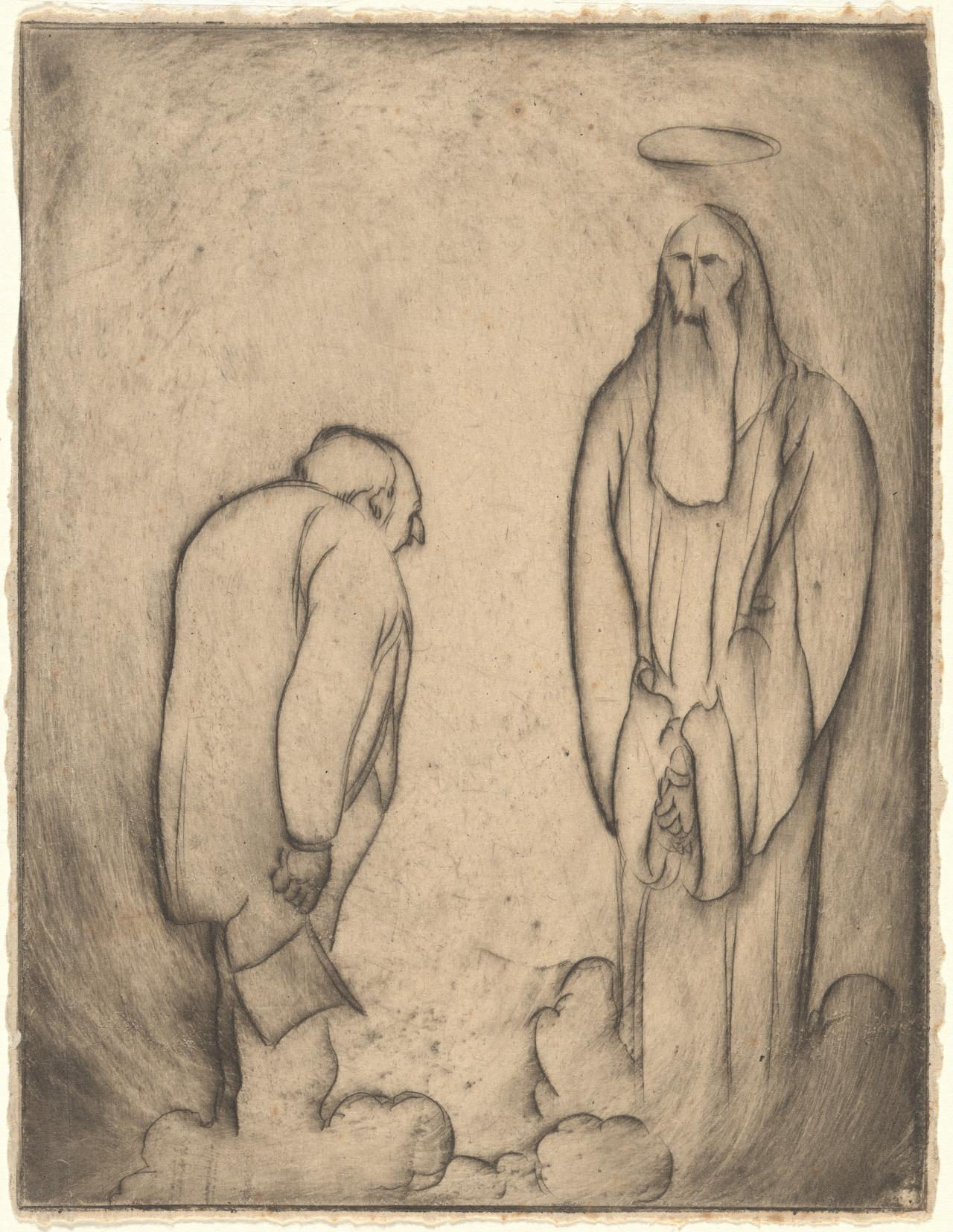 (Untitled) (Portly man in the presence of draped figure with halo)