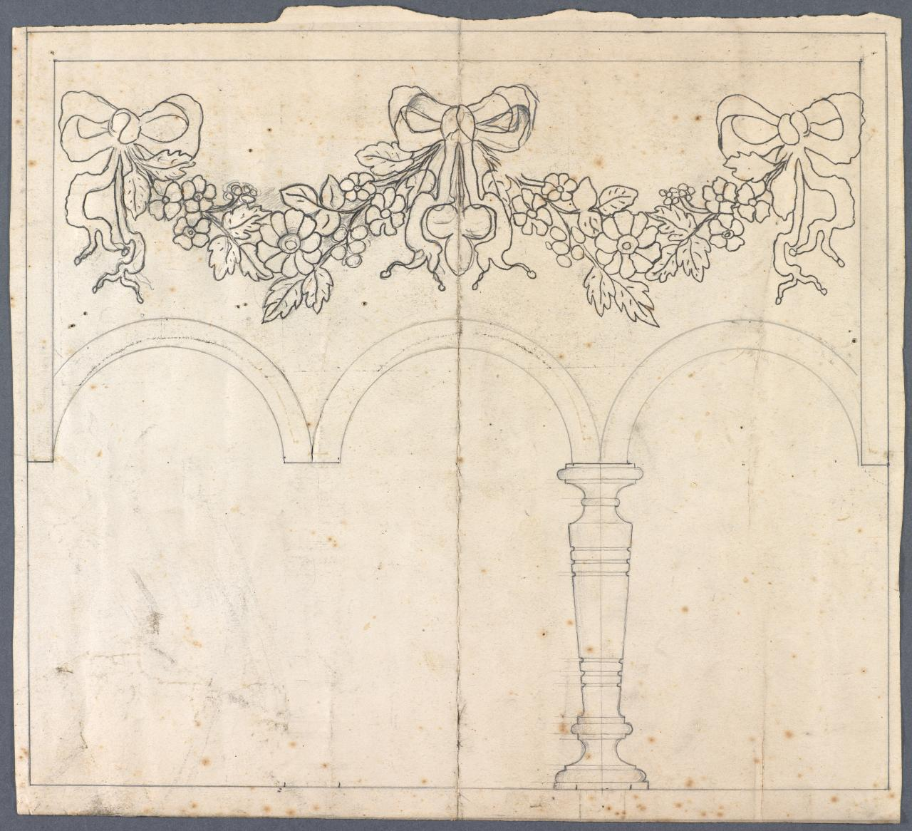 Template for arcaded panel of a sideboard