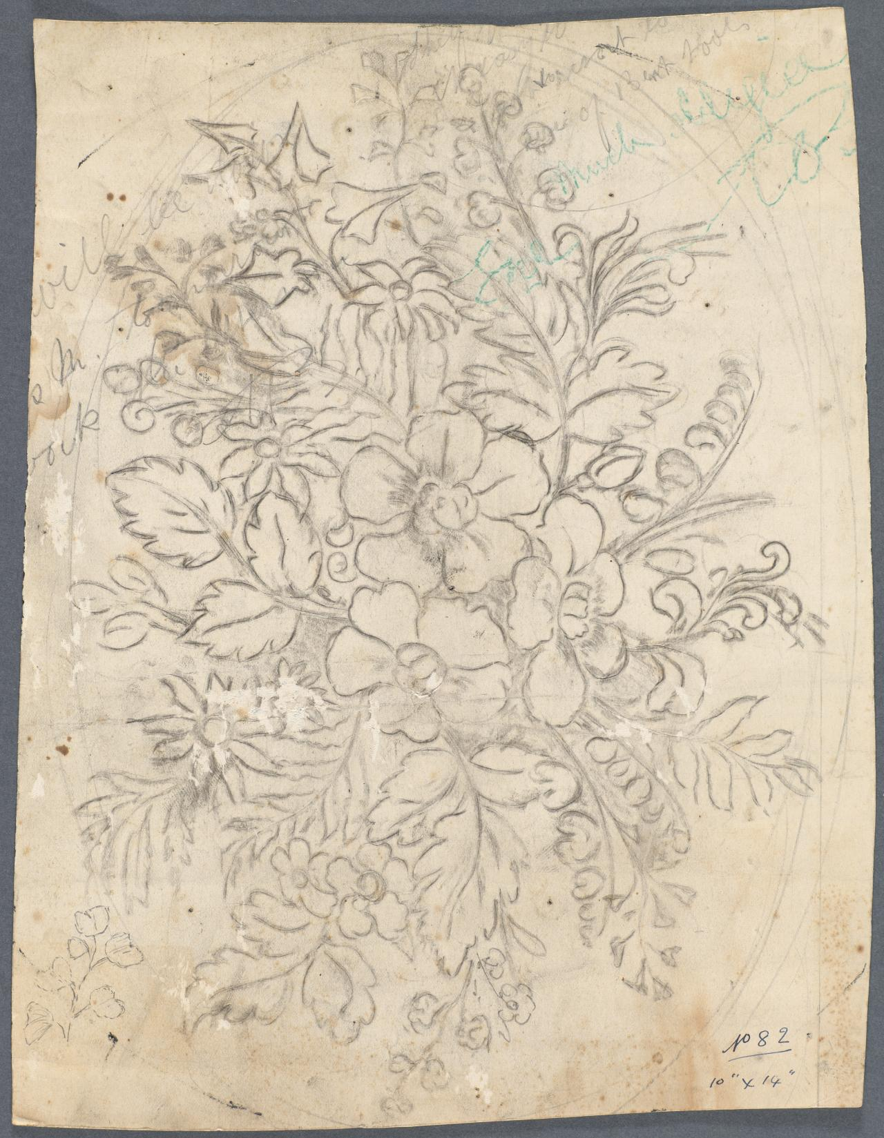 Design for a panel of a table top (floral motif)