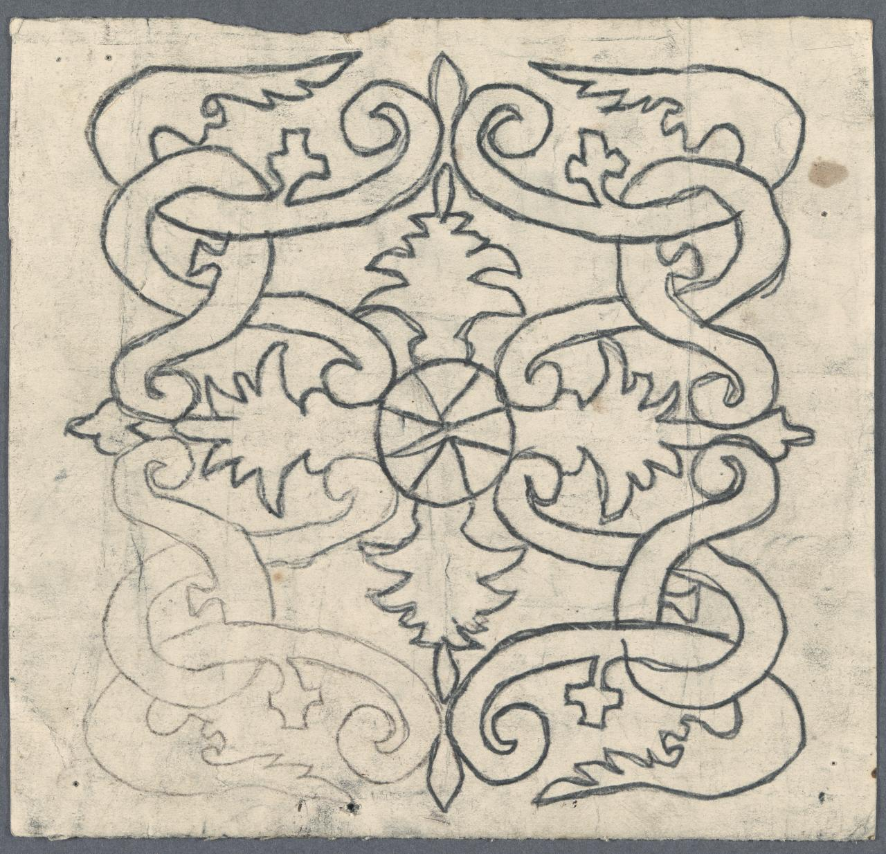 Small template for a panel (interlocking foliated scroll motif)