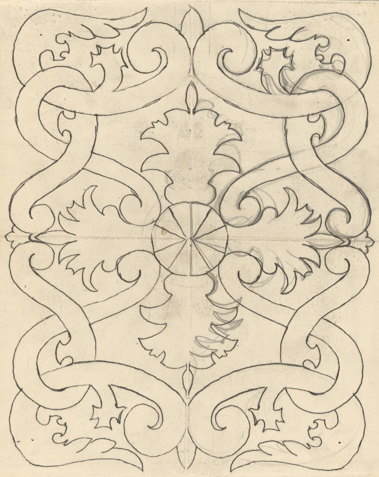 Template for a panel (interlocking foliated scroll motif)