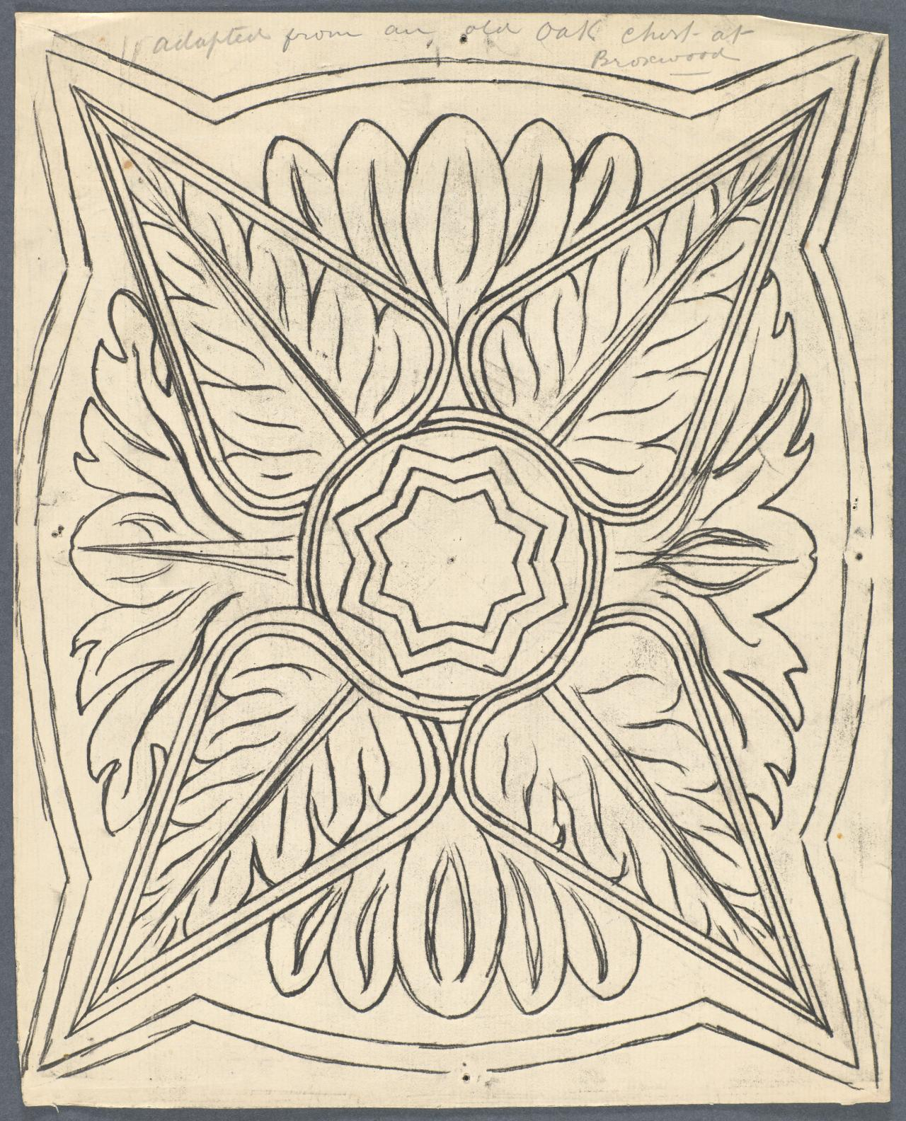 Template for a panel (central star and pointed leaf motif)