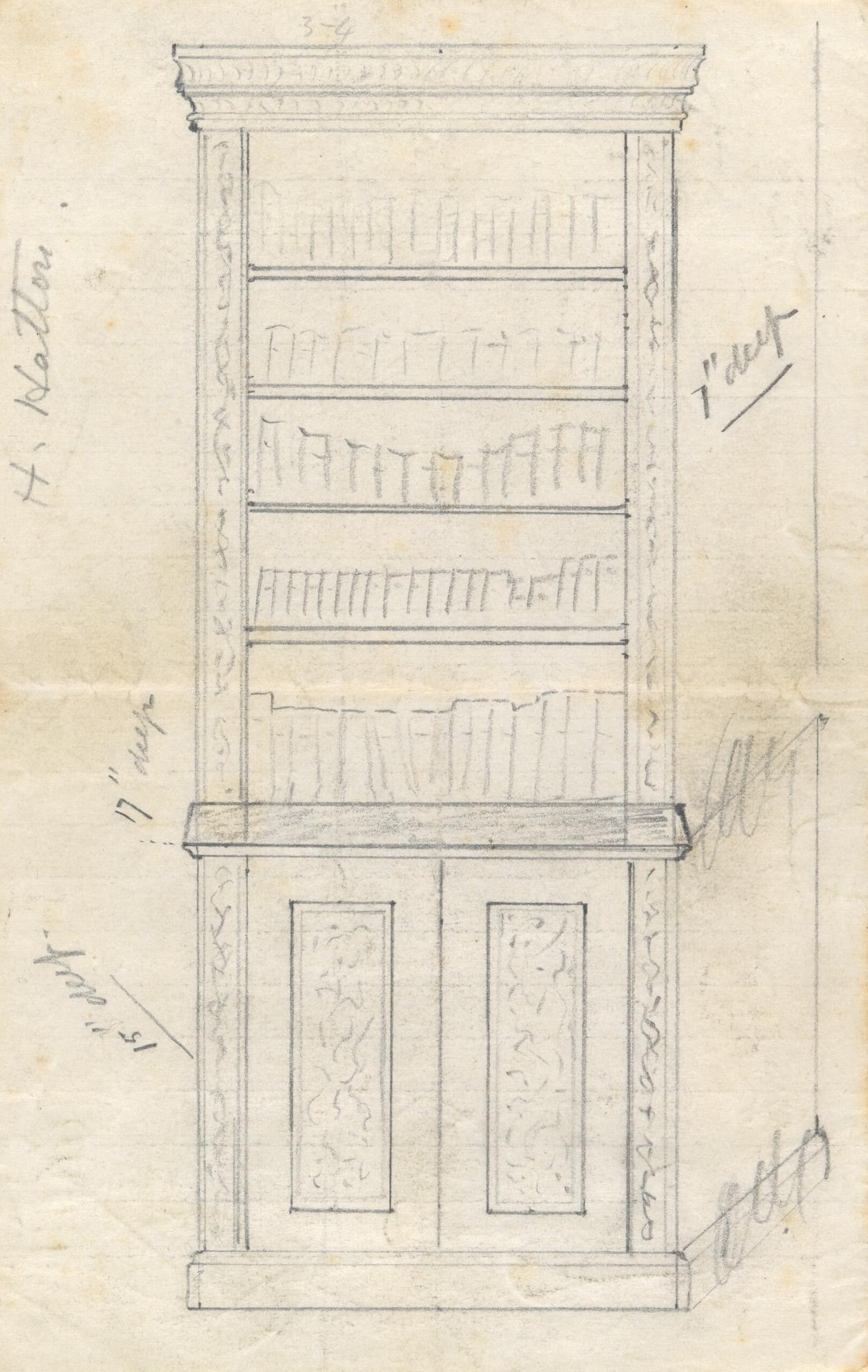 Design for a bookcase (plain cornice)