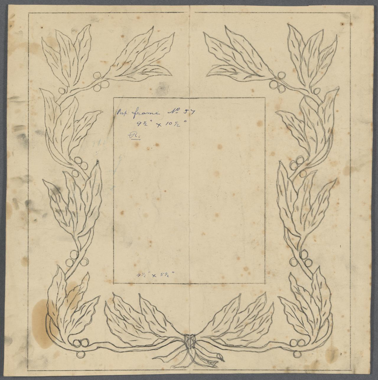 Template for a frame (berry and leaf motif)