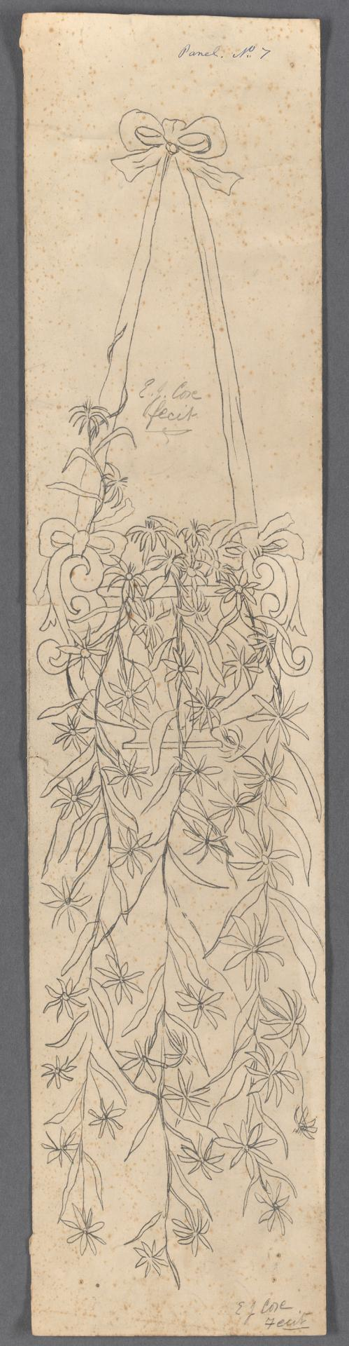 Template for a panel (hanging vase and flowering vine)
