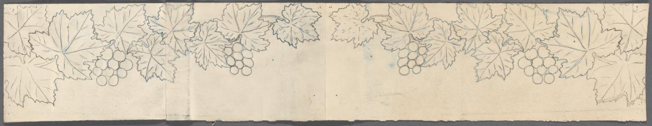 Template for a frieze of vertical desk (grape vine motif)