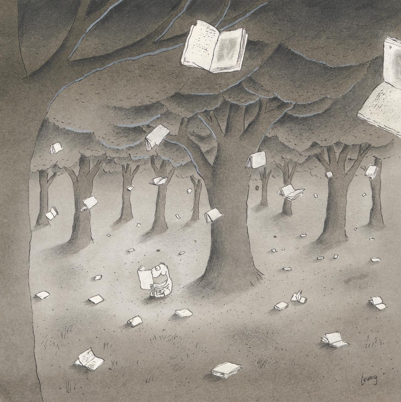 Books falling from the trees
