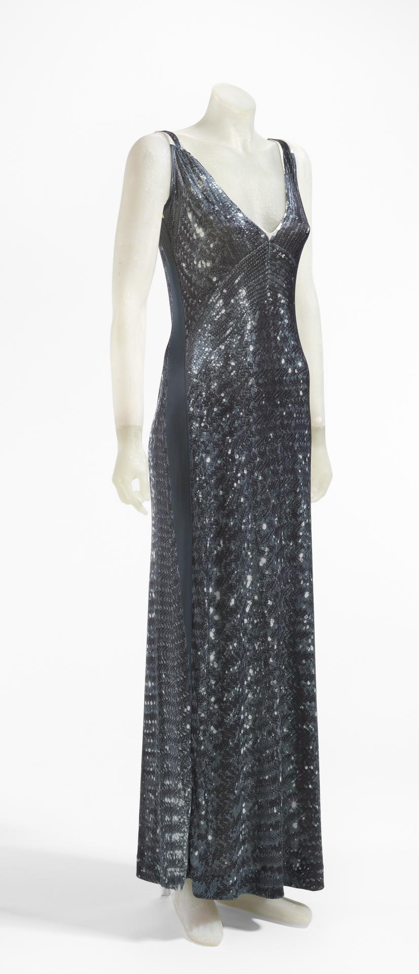 Printed photographic sequin dress