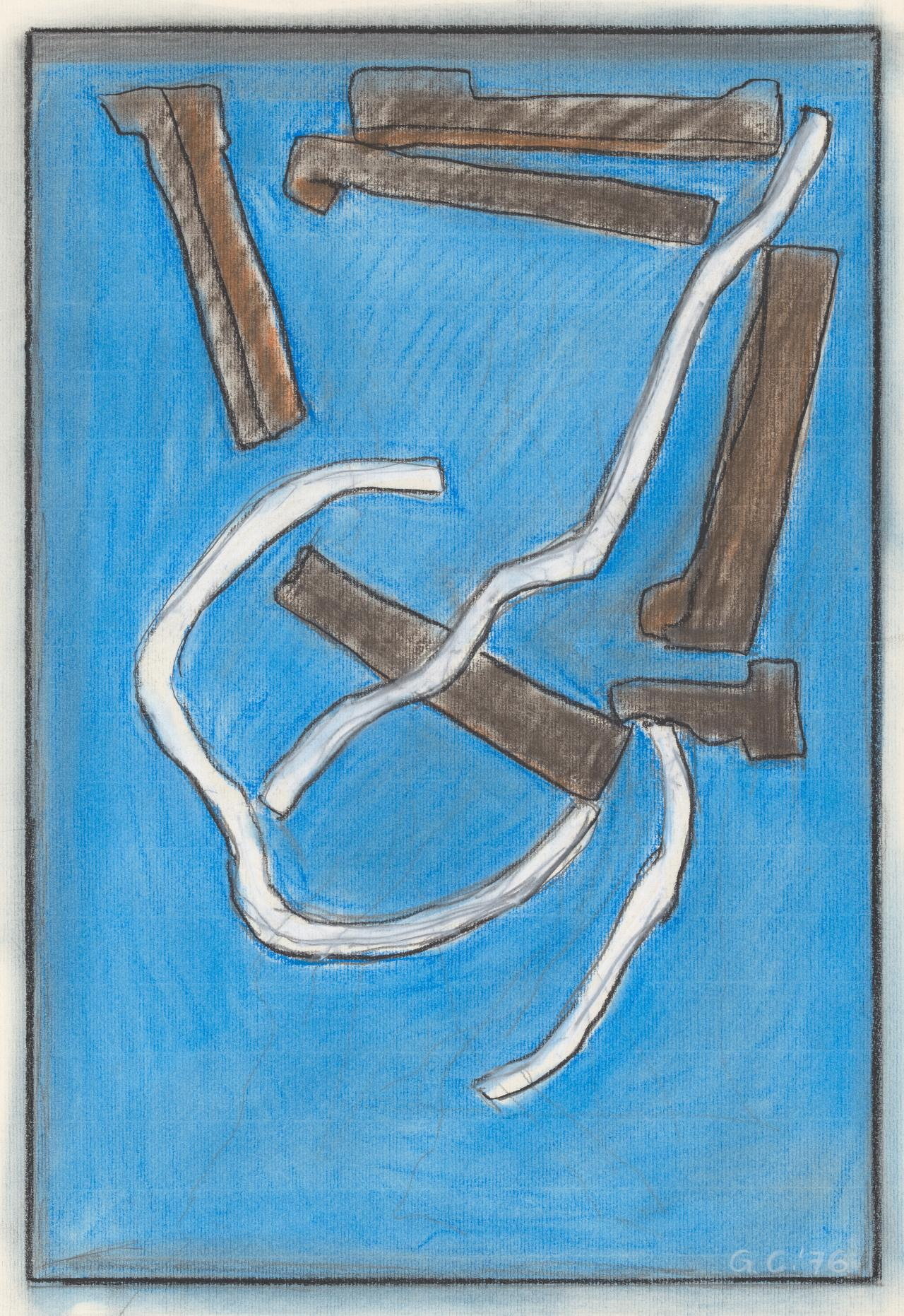 (Untitled) (Abstract shapes on blue ground)