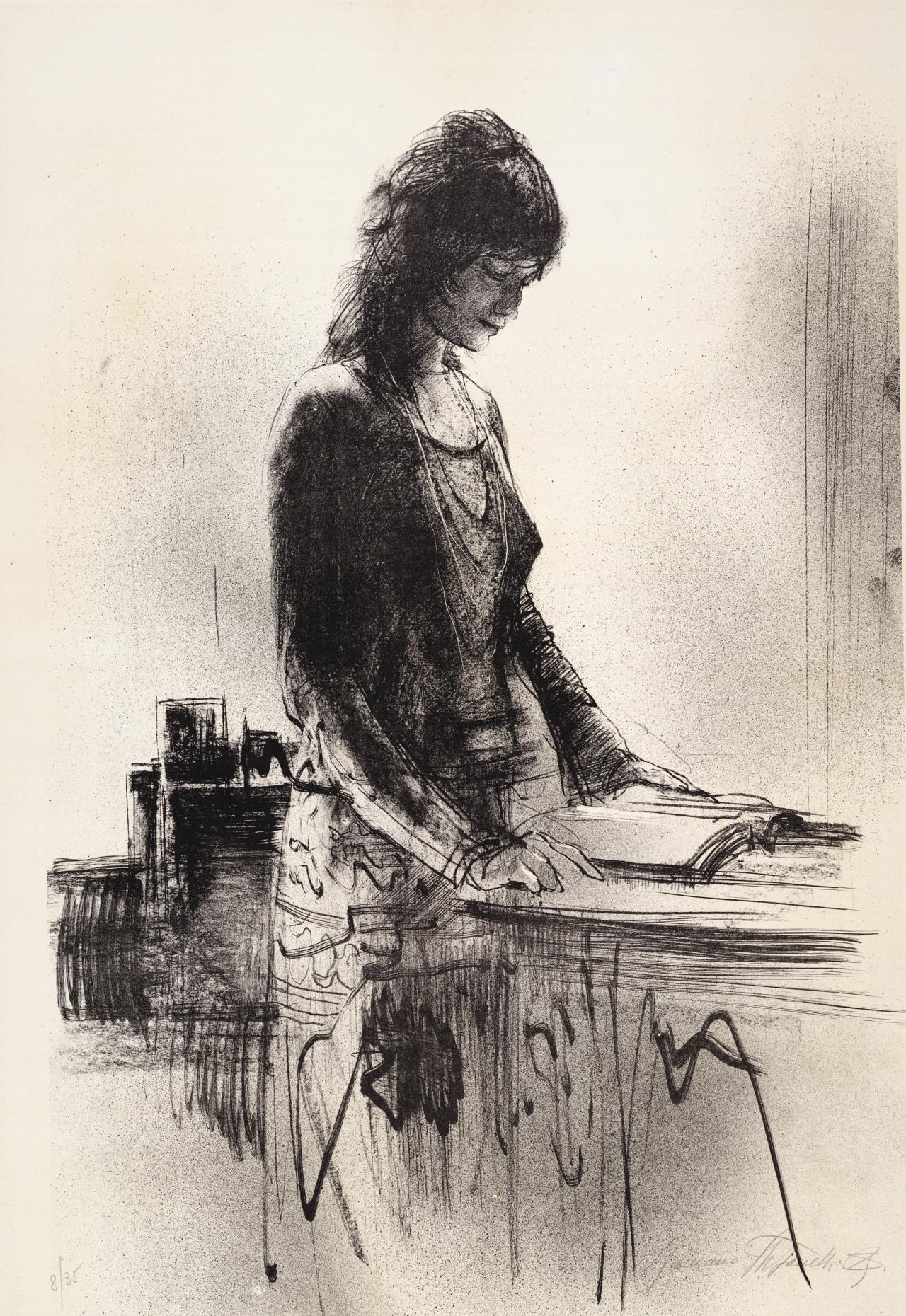 (Woman standing by a table, reading)