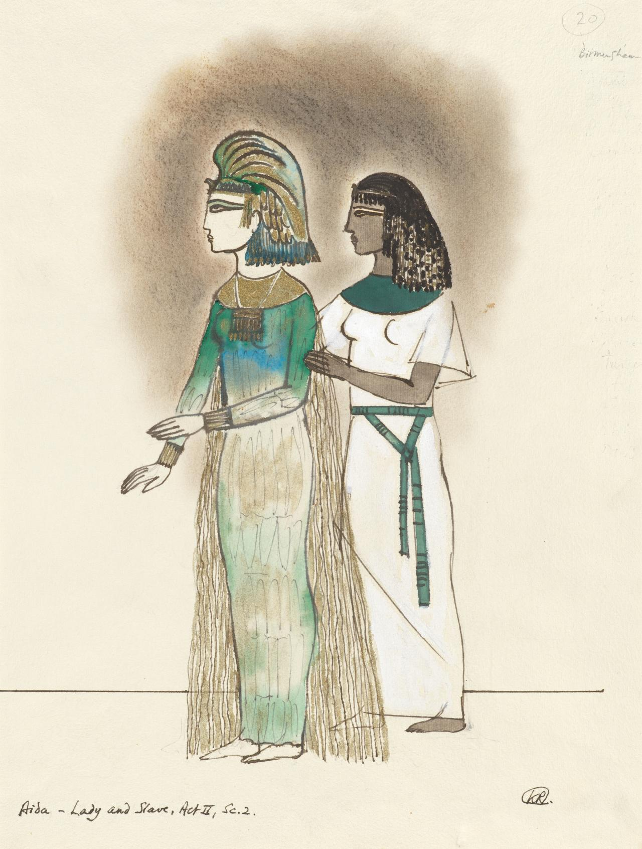 Costume designs for Aida, Lady and slave, Act II, Scene II