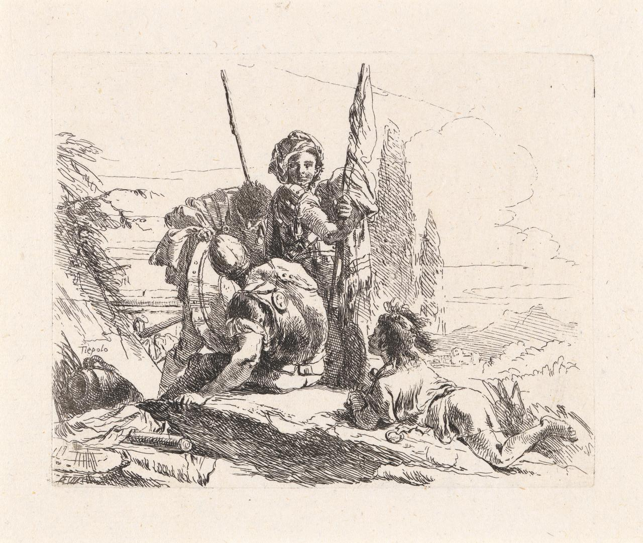 Three soldiers and a boy