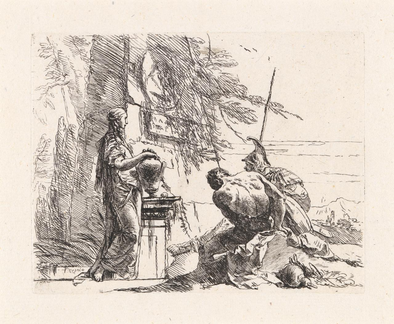 A woman with her hands on a vase, a soldier and a slave