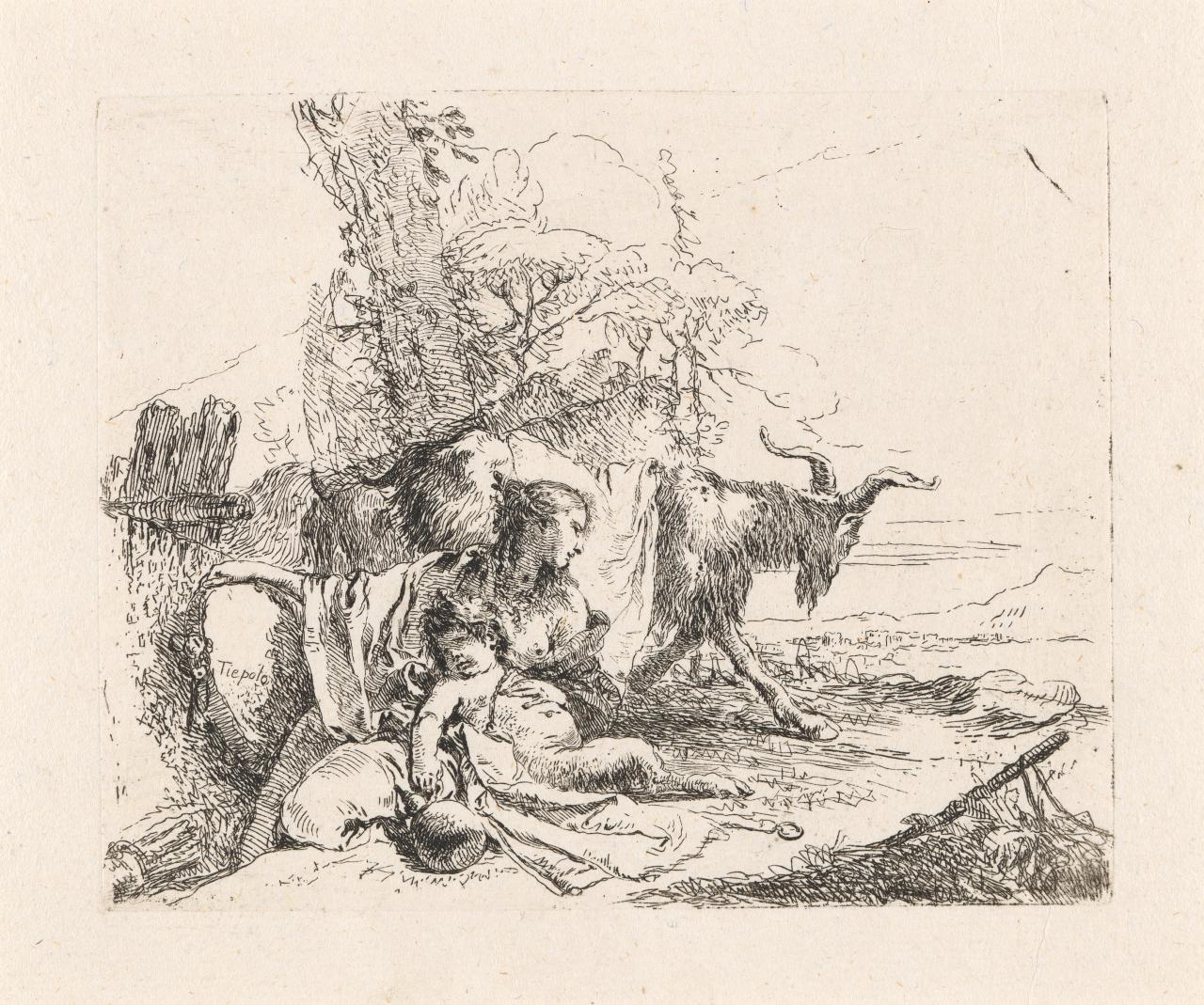 A nymph with a small satyr and two goats