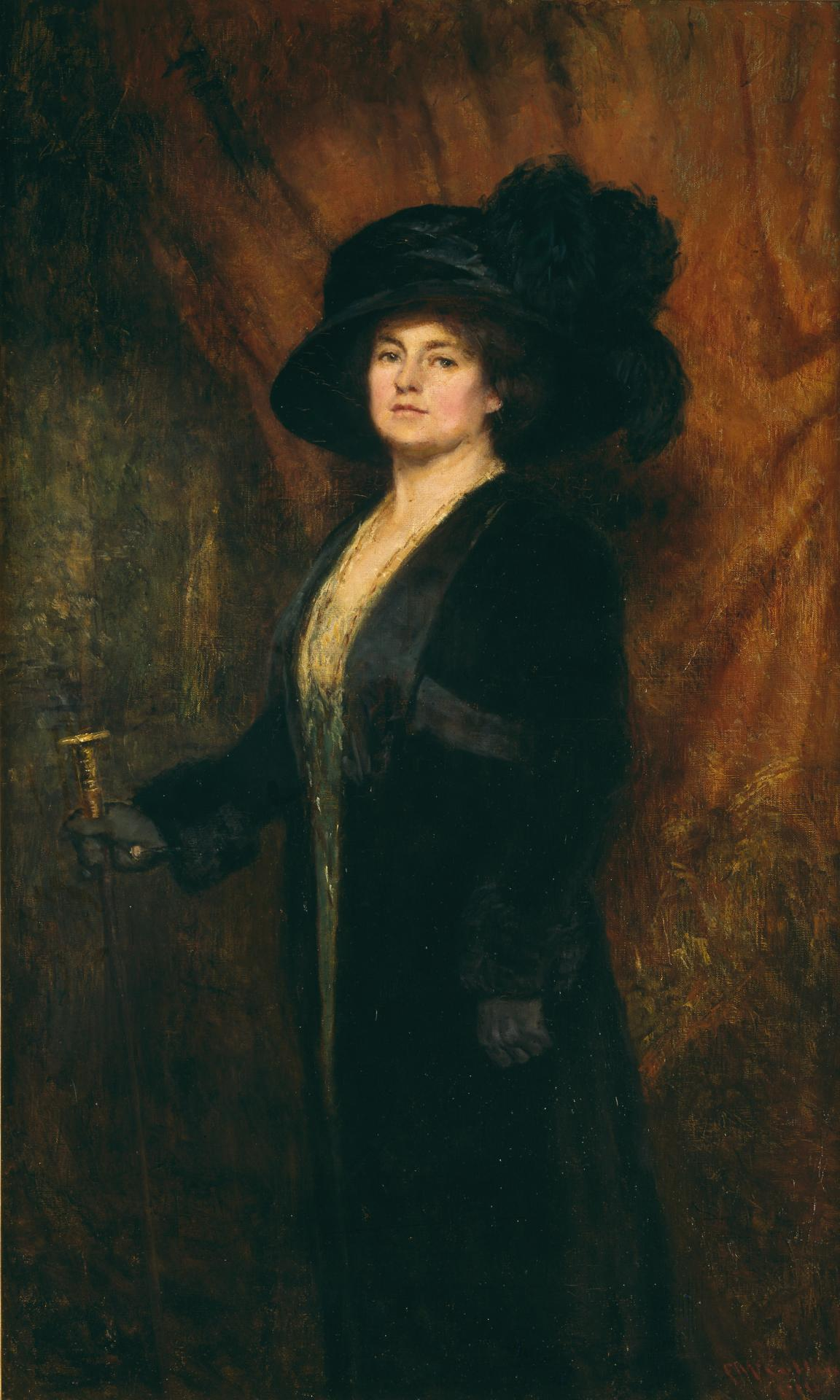 Mrs McCubbin wearing a black plumed hat