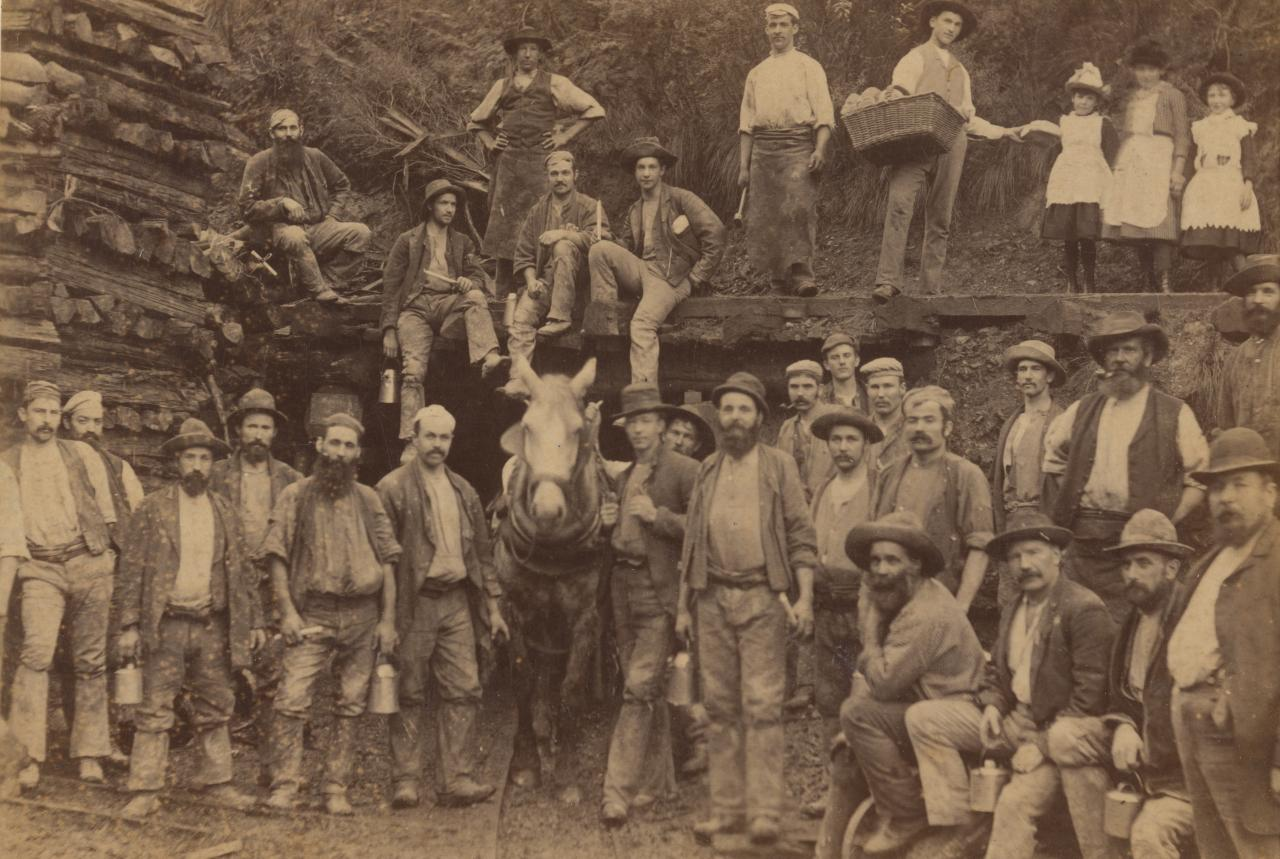Miners coming off work, Long tunnel extended shaft, Walhalla, cabinet print