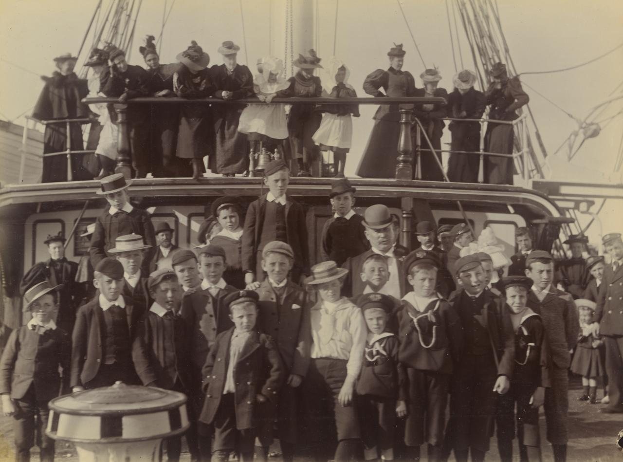 No title (Group of children on ship)