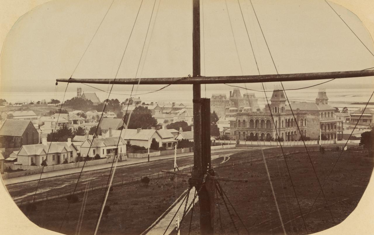 Queenscliff viewed through ship's rigging