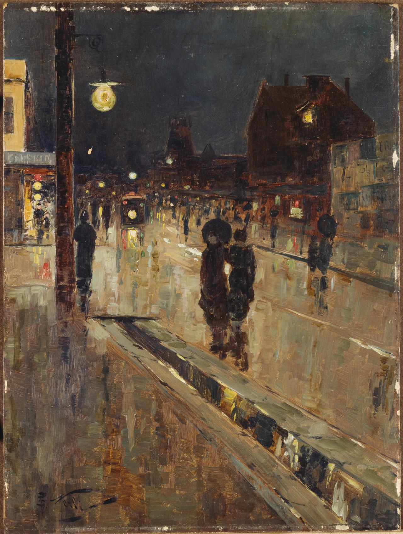 Street scene on a rainy night