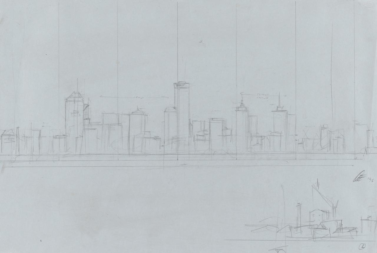 Preparatory drawing for Soliloquy number 2 (City and Port Melbourne skyline)