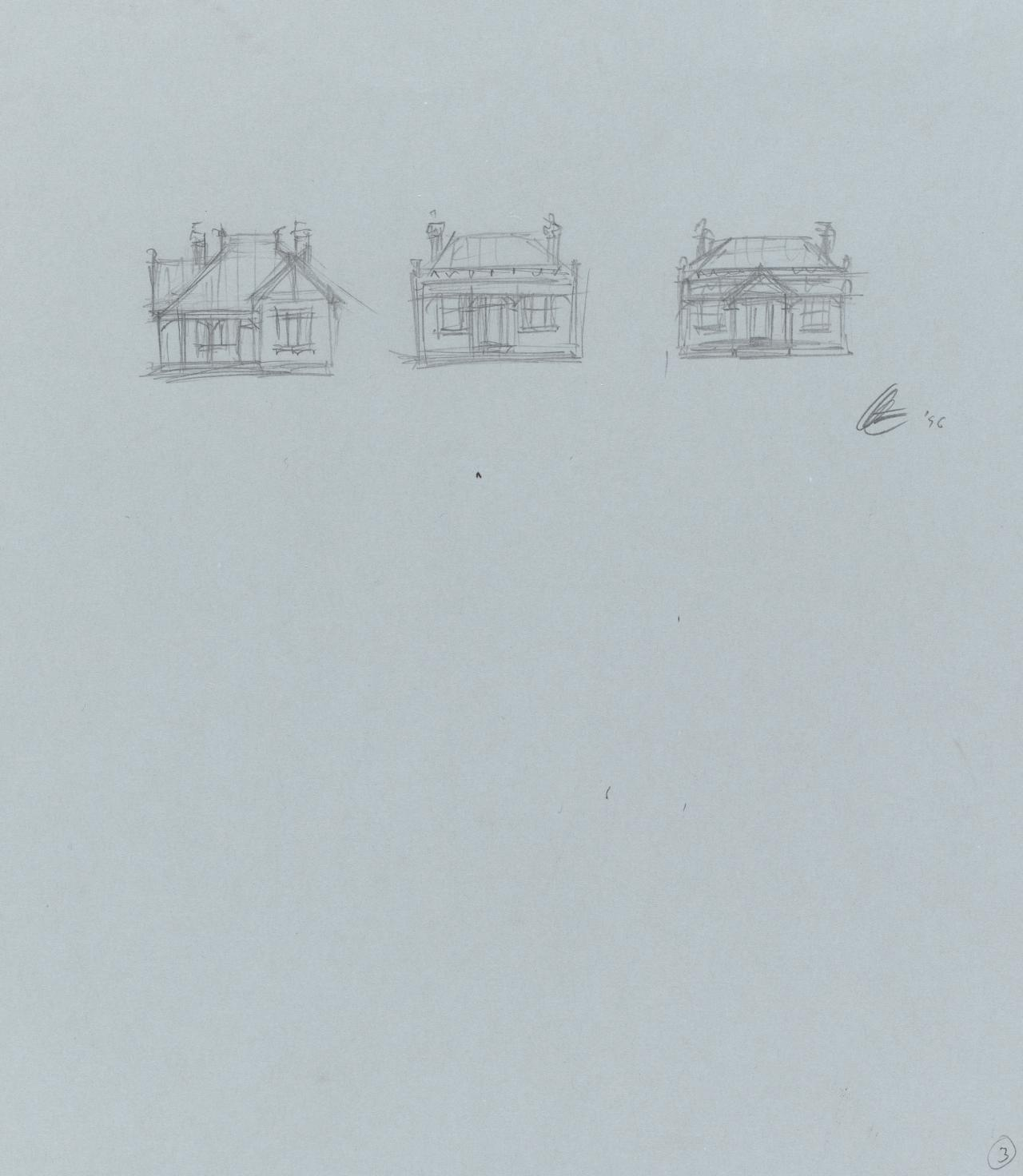 Preparatory drawing for Soliloquy number 3 (Cottages)