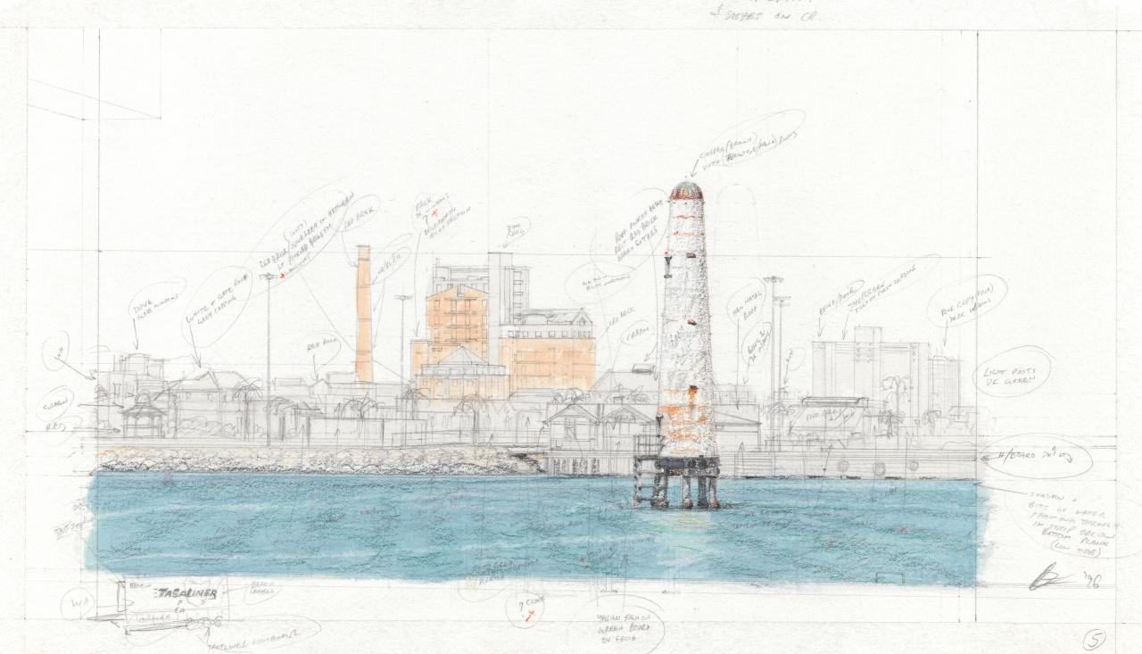 Preparatory drawing for Soliloquy number 5 (Port Melbourne skyline)