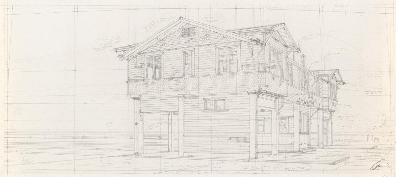 Preparatory drawing for Soliloquy number 6 (Gatehouse in perspective)