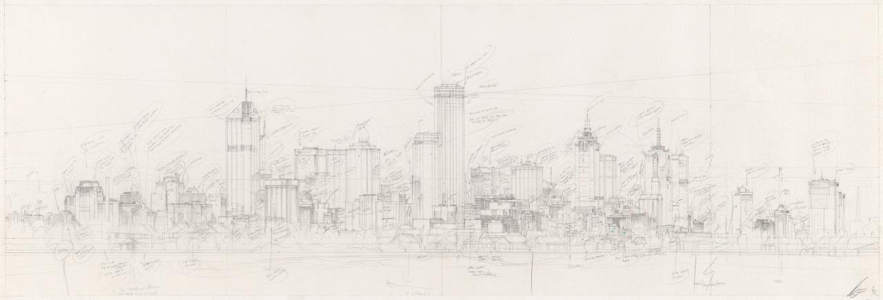 Preparatory drawing for Soliloquy number 7 (City skyline)