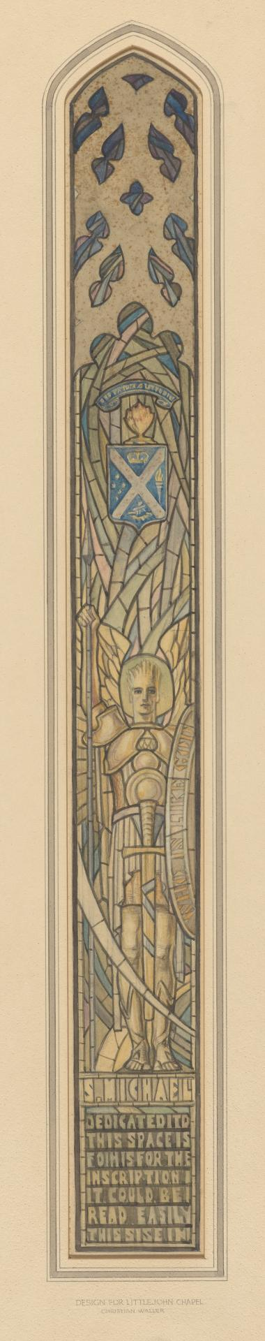 Design for a window at Littlejohn Chapel, Scotch College, Melbourne: St Michael