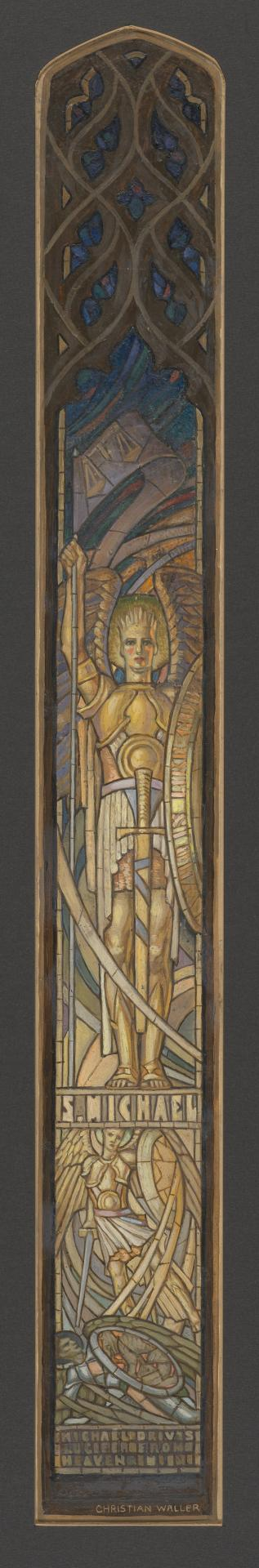 Design for a window at Scotch College chapel, Melbourne: St Michael drives Lucifer from Heaven