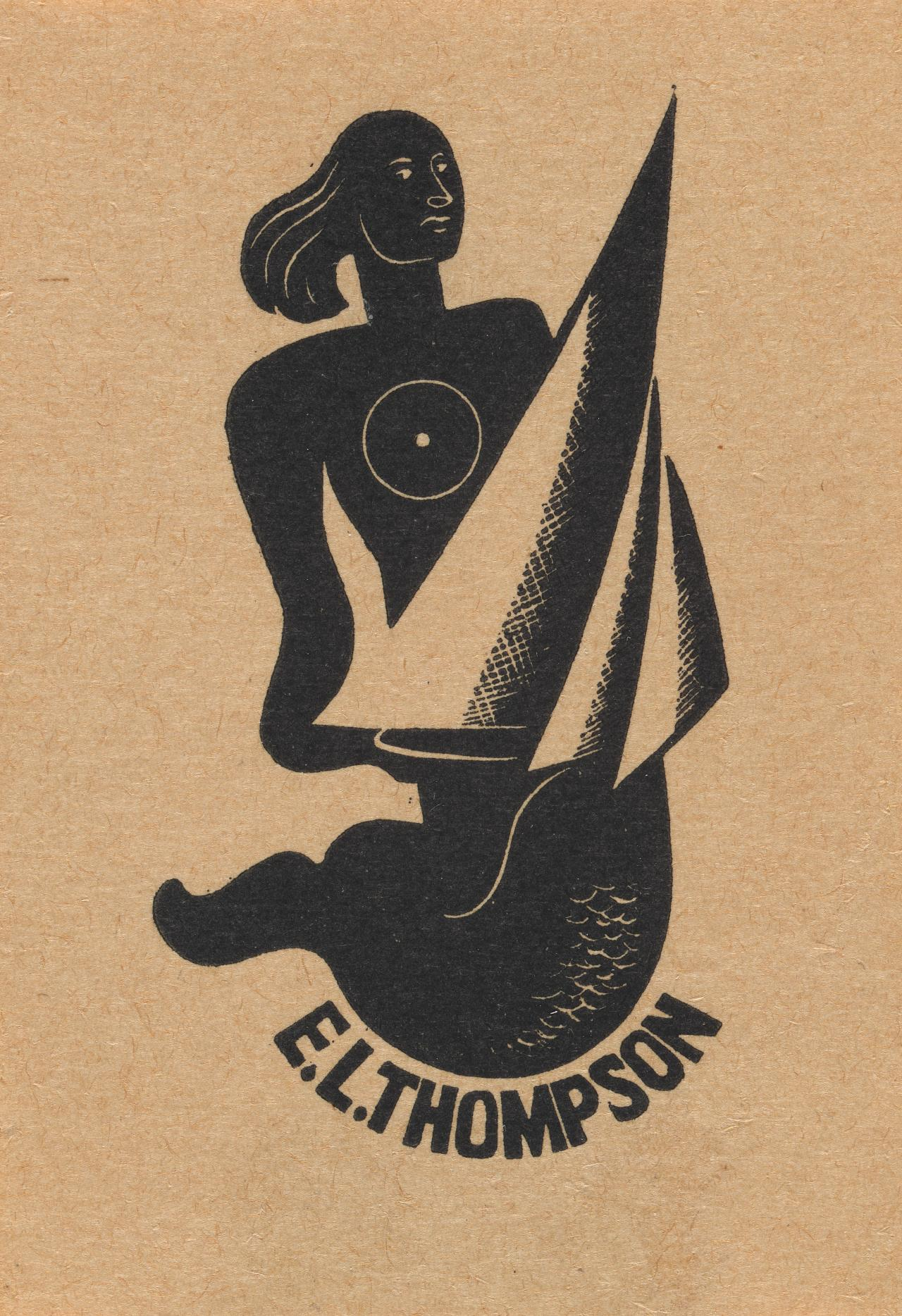 Bookplate: E. L. Thompson (Mermaid holding sail boat)