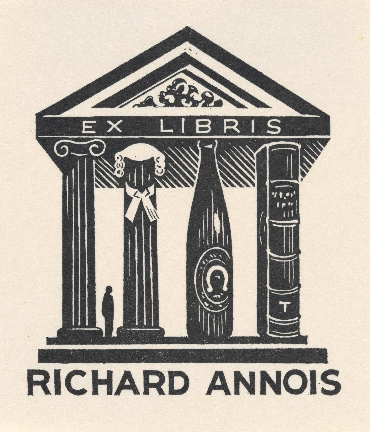 Bookplate: Richard Annois (Male figure in architectural setting...