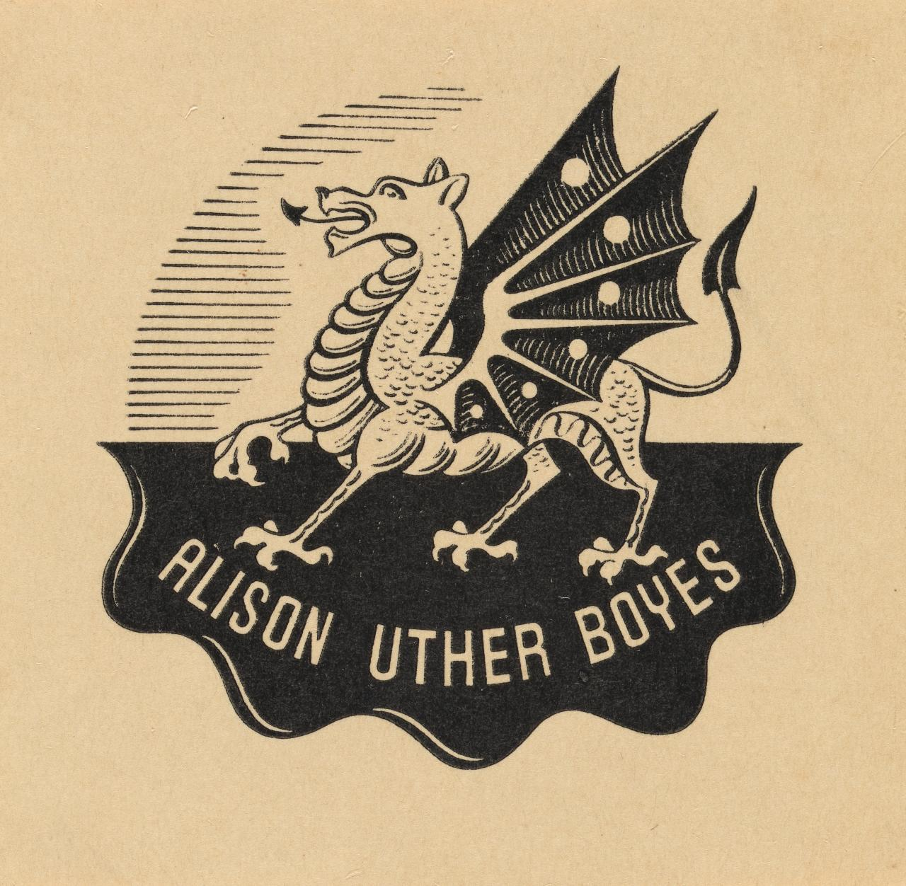 Bookplate: Alison Uther Boyes (Welsh dragon)