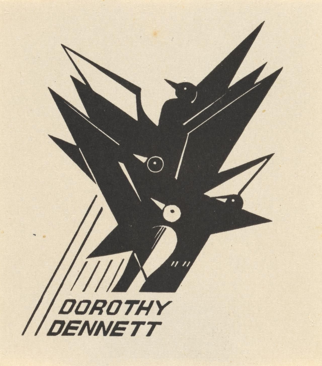 Bookplate: Dorothy Dennett (Geometric bird design)