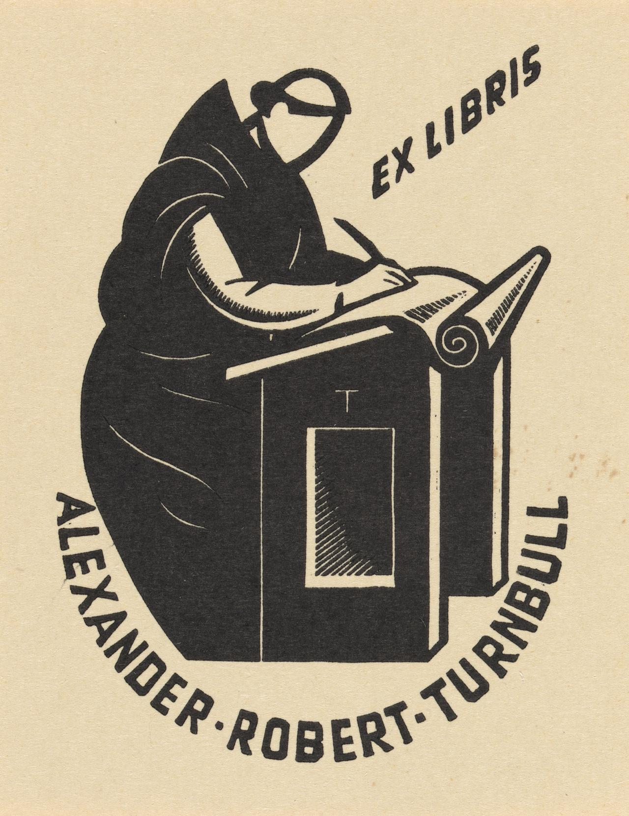 Bookplate: Alexander Robert Turnbull (Medieval monk at writing desk)